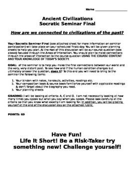 Ancient World History Socratic Seminar of Civilizations