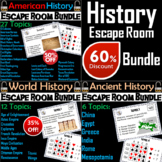 Ancient, World, and American History Escape Room Social Studies Bundle