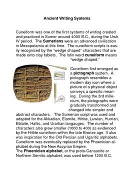 Ancient Writing Systems Common Core Reading and Writing Activities