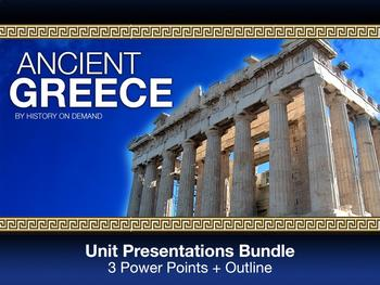 Ancient Greece PowerPoint with Guided Outlines: Three Presentation Bundle