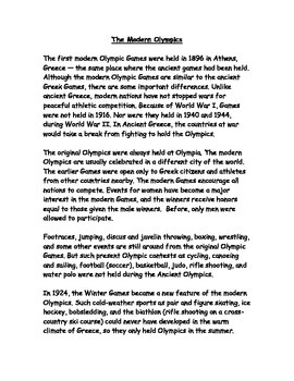 Ancient and Modern Olympics Reading Passage and Compare /