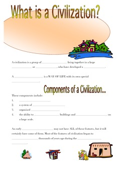 Ancient civilization information and worksheet