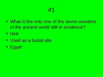 Ancient history quiz game power point