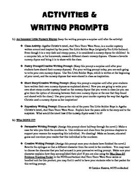 And Then There Were None Activities & Writing Prompts