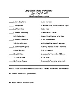 And Then There Were None Characters Test/Quiz