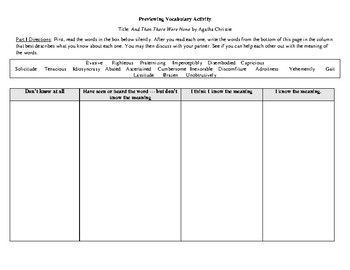 And Then There Were None Vocabulary Packet