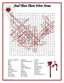 And Then There Were None Word Search