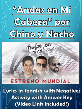 Andas en Mi Cabeza Song with Negatives Activity in Spanish