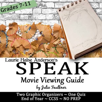 Speak Movie Graphic Organizers and Quiz Pack, End of Year, Media, Sub Plan