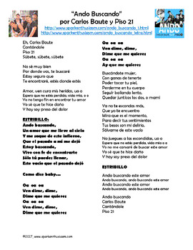 Ando Buscando Song Lyrics And Activities In Spanish Carlos Baute Musica