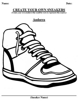 Andorra Design your own sneaker and writing worksheet