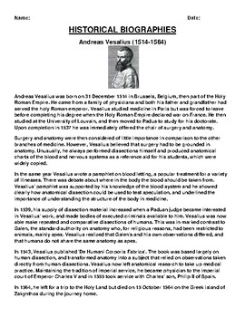 Andreas Vesalius  Biography Article and (3) Assignments