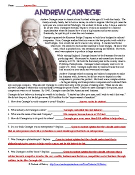 Andrew Carnegie Biography Worksheet