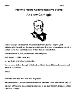 Andrew Carnegie Commemorative Postage Stamp Worksheet and Webquest