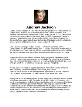 Andrew Jackson Article and Assignment