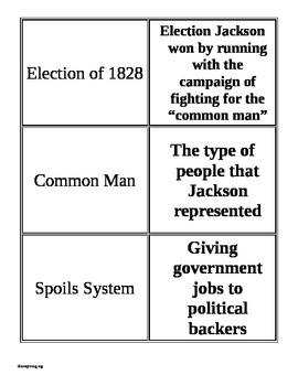 Andrew Jackson Basic Matching Cards