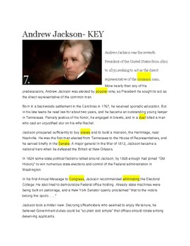 Andrew Jackson -- CLOZE Reading