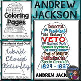 Andrew Jackson Coloring Page and Word Cloud Activity