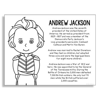 President Andrew Jackson Coloring Page Craft or Poster with Mini Biography