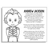 President Andrew Jackson Coloring Page for Crafts and Interactive Notebook