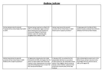 Andrew Jackson Comic Strip and Storyboard