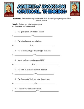 Andrew Jackson Critical Thinking Exercise