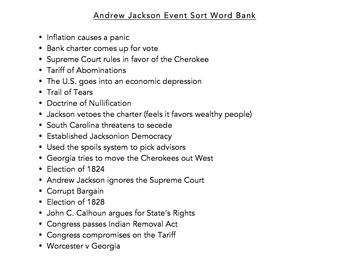 Andrew Jackson Event Sorting Activity