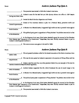 Andrew Jackson Fill-In Quiz, Two Forms, Answer Key
