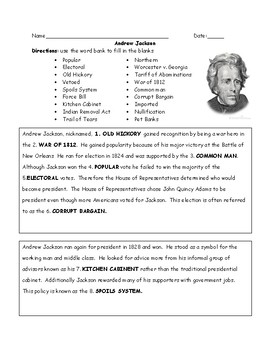 Andrew Jackson Fill in the Blanks with Word Bank and Answer Key