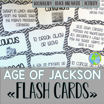 Andrew Jackson Flash Cards - Black and White