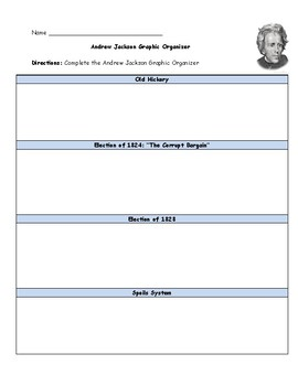 Andrew Jackson Graphic Organizer with Answer Key