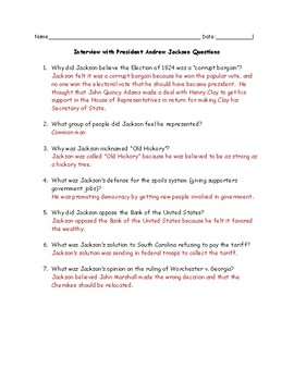 Andrew Jackson Interview with Questions and Answer Key