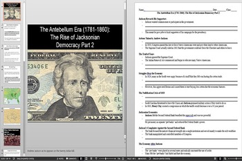 Andrew Jackson Lesson Plan Powerpoint AND Notes Worksheet