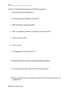 Andrew Jackson Reading Comprehension Worksheet
