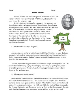 Andrew Jackson Reading with Questions and Answer Key