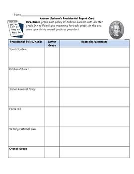 Andrew Jackson Report Card Worksheet