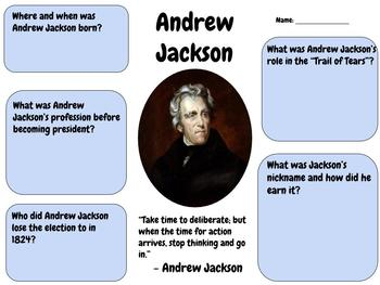 Andrew Jackson - Research Printable or Google Classroom Assignment!