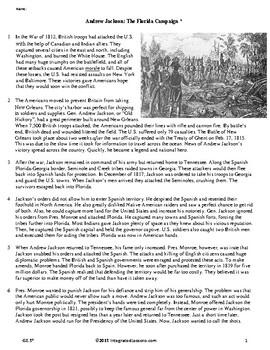 Andrew Jackson: The Florida Campaign - Grade 8