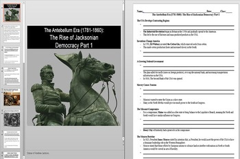Andrew Jackson, The Monroe Doctrine & the Missouri Compromise Powerpoint & Notes