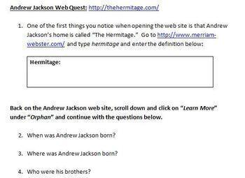 Andrew Jackson WebQuest / Web Quest - New - Not the Retired PBS WebQuest!