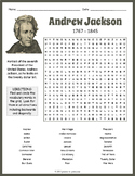 Andrew Jackson Word Search Worksheet