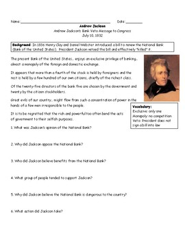 Andrew Jackson and the National Bank Worksheet with Answer Key
