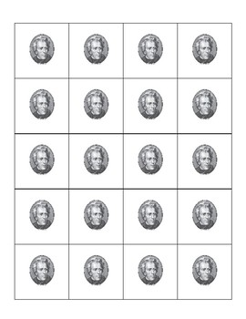 Andrew Jackson background memory game