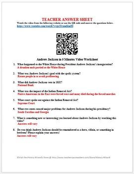 Andrew Jackson in 5 Minutes Video Worksheet