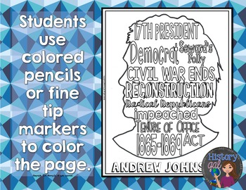 Andrew Johnson Coloring Page and Word Cloud Activity