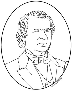 Andrew Johnson (17th President) Clip Art, Coloring Page or