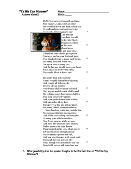 """Andrew Marvell - """"To His Coy Mistress"""" Poem and Worksheet"""