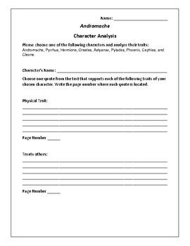 Andromache Character Analysis Activity - Jean Racine