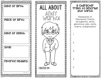 Andy Warhol - Famous Artist Biography Research Project, Interactive Notebook