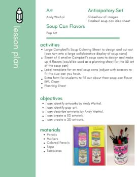 Andy Warhol Campbell S Soup Can Pop Art Lesson Tpt
